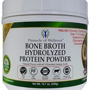 Pinnacle of Wellness Bone Broth Hydrolyzed Protein Powder – Natural Flavor – 20 Servings 15.7oz (445g)