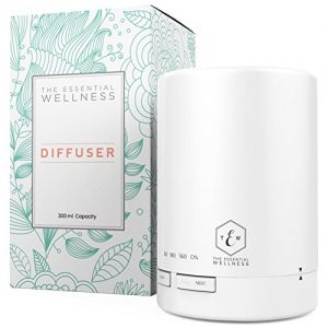 The Essential Wellness Essential Oil Diffuser and Aromatherapy Diffuser – BPA Free Diffusers for Essential Oils 6-8 Hours Continuous Diffusing – Quiet Aroma Diffuser 7 Colors Auto Shut Off 300ml