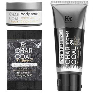 Dr. Wellness Charcoal + Vitamin C 3 Pc Bath and Shower Set – Soap, Shower Gel and Body Scrub Kit